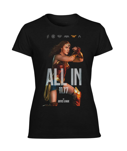 ALL IN Wonder Woman Justice League Premium Performance Womens T-Shirt-DC Comics Cosplay-WickyDeez