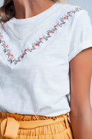 White Embroidered Flower T-Shirt Top-Women - Apparel - Shirts - T-Shirts-WickyDeez