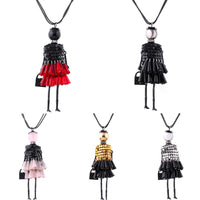 Crystal Sequins Multicolor Cute Cartoon Girl Doll Pendant Chain Necklace - 4 Colors-Women's Accessories-WickyDeez