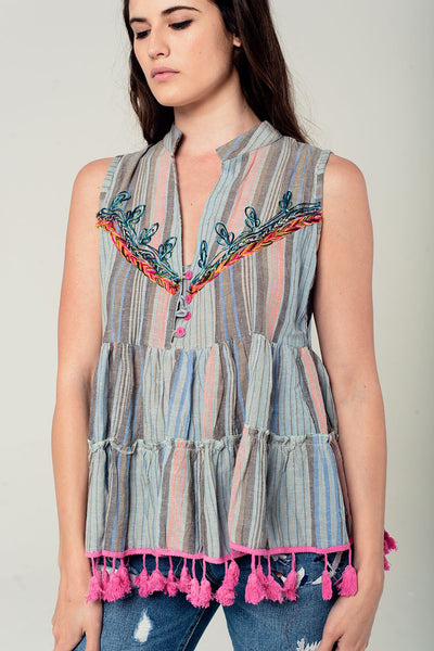 Embroidery Sleeveless Blouse With Tassels-Women - Apparel - Shirts - Blouses-WickyDeez