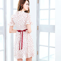 Ruffled Heart-shaped Polka Dot Fit and Flare Dress - WickyDeez