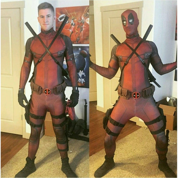 Deadpool Full Body Lycra Spandex Cosplay Costume For Kids and Adults-Marvel Comics Cosplay-WickyDeez