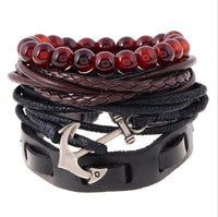 DIY Brief Style Multilayer Weave Anchor Leather Bracelet Jewellery - For Women and Men-Women's Accessories-WickyDeez