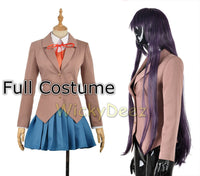 Doki Doki Literature Club Sayori Yuri Natsuki Monika Cosplay Costume Vest + Wig + Shoes-Anime Cosplay-WickyDeez