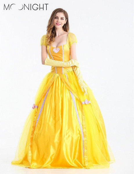 Fantasia Beauty And The Beast Princess Belle Yellow Cosplay Long Dress Costume-Disney Cosplay-WickyDeez