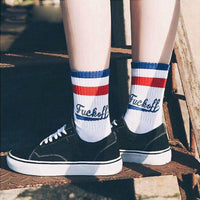 Fashion Casual Sport Hosiery Cotton Letter Skateboard Unisex Socks-Men's Footwear-WickyDeez