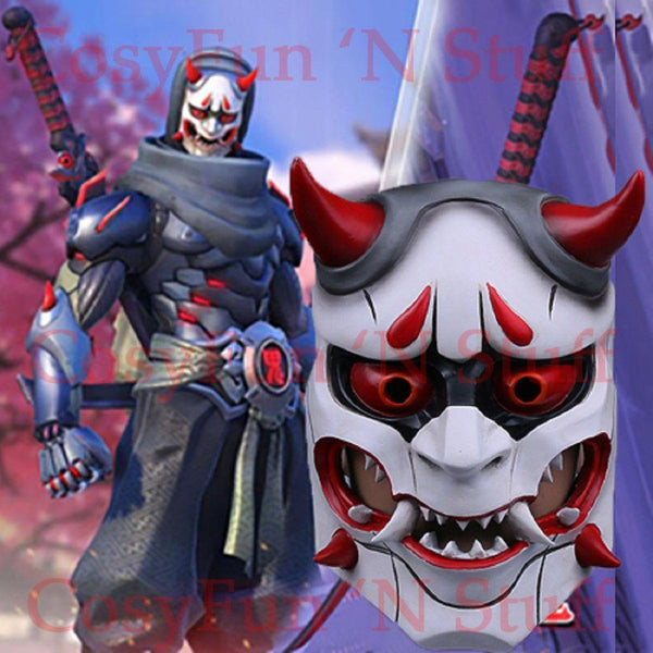 Game Overwatch OW Genji Skin Oni Mask Prop Custom Made Cosplay-Computer Game Cosplay-WickyDeez