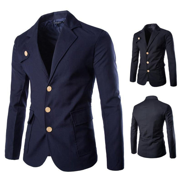 Gold Buckle Tunic Blazer Men Casual Slim Fit Jacket Long Sleeve Single Breasted Blazer Suit-Men's Jackets-WickyDeez
