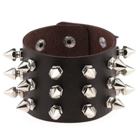 Gothic Punk Spiked Leather Bracelet Silver Tone Studs Women Jewelry-Women's Accessories-WickyDeez