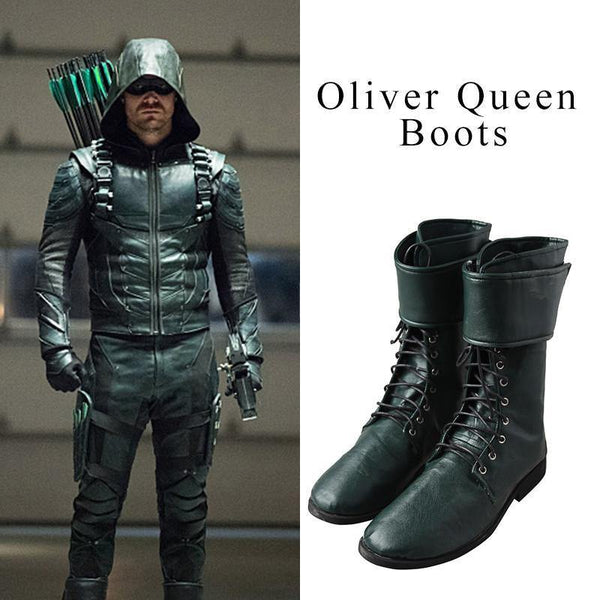 Green Arrow Oliver Queen Cosplay Shoes Boots Custom Made Upon Request-DC Comics Cosplay-WickyDeez