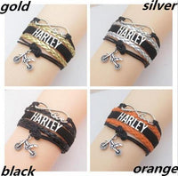 Harley Motorcycle Infinity Love Rider Wrap Bracelet Black Silver Orange Gold Leather Bracelet-Women's Accessories-WickyDeez