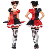 Harley Quinn Circus Clown Clothing Halloween Party Role Playing Cosplay Costume Stage Costume Uniforms Temptation + T-back 88 High Qua (Size: O-DC Comics Cosplay-WickyDeez