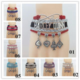 Harley Quinn Infinity Love Alloy Jewelry Bracelet Poker Card Pendant Unisex Wrist Accessories-DC Comics Cosplay-WickyDeez