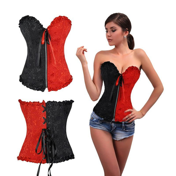 Harley Quinn Sexy Corset Black Red Zip Front Lace Back Halloween Harley Jacquard Corset Plus size S-6XL-DC Comics Cosplay-WickyDeez