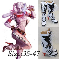 Harley Quinn Suicide Squad Shoes High Heel Boots for Cosplay, Halloween, Parties High Quality-DC Comics Cosplay-WickyDeez