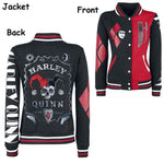Harley Quinn Unisex Jacket Baseball Coat & Shirt Tops (Sizes S-2XL)-DC Comics Cosplay-WickyDeez