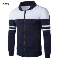 High Quality Long Sleeve Slim Fit Patchwork Zipper Men's Warm Blazer Sweatshirt - England Style-Men's Tops-WickyDeez