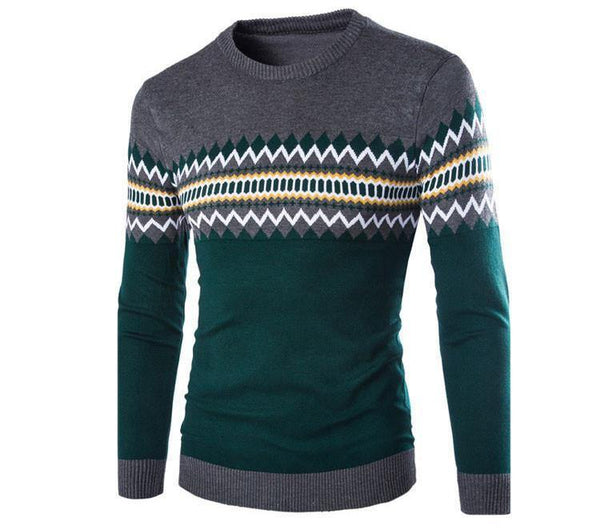High Quality Men's Fashion Pullovers / Sweater Long Sleeve Patchwork Knitwear Top-Men's Tops-WickyDeez