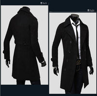High Quality Men's Long Wool Blend Long Sleeved Trench Coat & Jacket-Men's Tops-WickyDeez