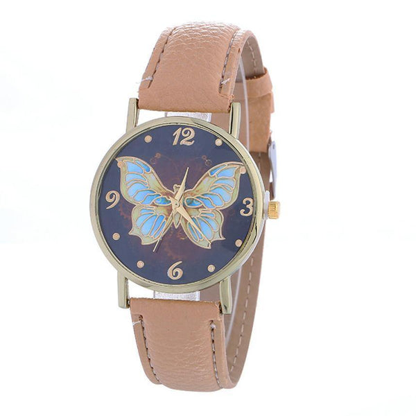 High Quality Women's Butterfly Pattern PU Leather Wrist Watch Clock - Choose from 7 Colors-Women's Accessories-WickyDeez