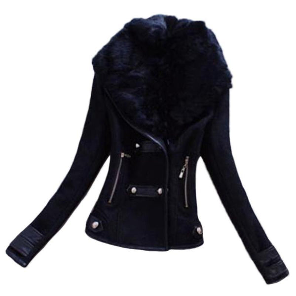 High Quality Women's Short Slim Coat Fur Collar Full Sleeve Jacket (In 2 Colors)-Women's Tops-WickyDeez