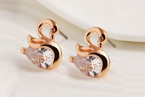 High Quality Zircon Crystal Swan Earrings - Unique Design Small Animal Metal Earrings High-end Jewellery-Women's Accessories-WickyDeez