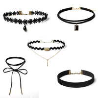 Hot 5 Piece Choker Necklace Set - Stretch Velvet Classic Gothic Tattoo Lace Chokers-Women's Accessories-WickyDeez