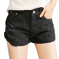 Hot Sale Slim Fit Women's Denim Shorts Mid-Size with Ripped/Torn/Holes Style (Available in 2 Colors)-Women's Bottoms-WickyDeez