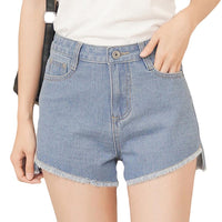 Hot Women's High-Waist Tassel Denim Slim Fit Wide Leg Jeans Shorts (Available in Light/Dark Blue)-Women's Bottoms-WickyDeez