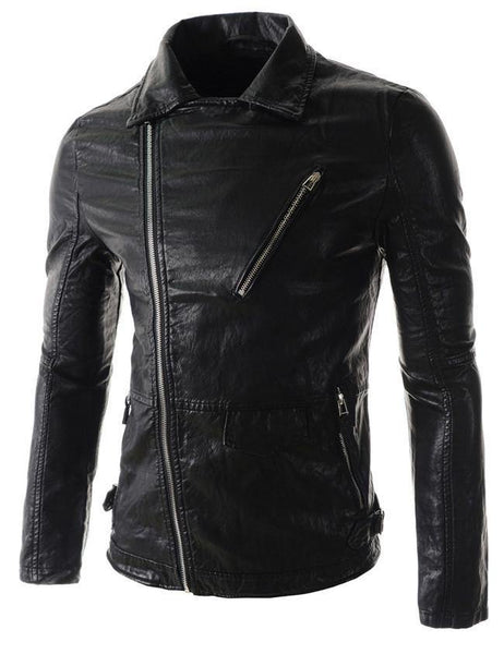 Inclined Zipper Slim Fit Leather Collar Casual Men Washed PU Coat Jacket-Men's Jackets-WickyDeez