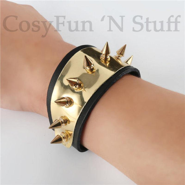 Inspired Harley Quinn Suicide Squad Spike Wrist Bracelet Cuff Cosplay Black Gold-DC Comics Cosplay-WickyDeez