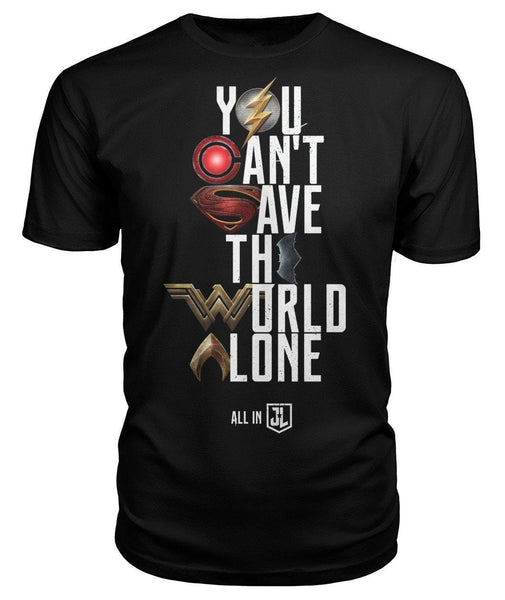 Justice League 2017 You Can't Save the World Alone T-Shirt Symbol Edition - Black Unisex Tee-DC Comics Cosplay-WickyDeez