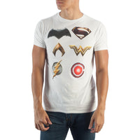 Justice League Character Logo T-Shirt-MXED-WickyDeez