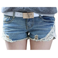 Lace Washed Women Shorts Mid-Waist Style Denim Shorts Slim Fit-Women's Bottoms-WickyDeez