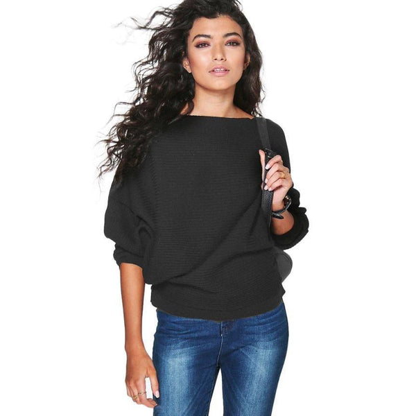 Long Sleeve Knitted Round Neck Pullover Sweater Loose Jumper Top - Leisure Knitwear Sweaters for Outwear-Women's Tops-WickyDeez