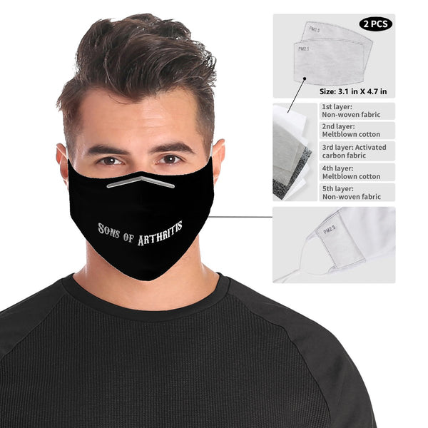 Sons of Arthritis Cloth Face Mask | 2x - 50x Disposable Five Layer Filter Pads Available
