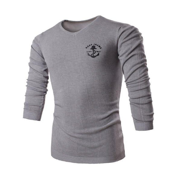 Men's Business Solid Long Sleeve V-Neck Collar Sweaters - 3 Colors-Men's Tops-WickyDeez