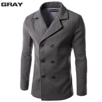 Men's Casual Dust Coat Pure Color Winter Warm Trench Coat (Up to 6 Colors - Sizes M-3XL)-Men's Jackets-WickyDeez
