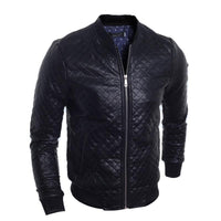 Men's Casual Leather Jacket Black Stand-collar Jacket-Men's Jackets-WickyDeez