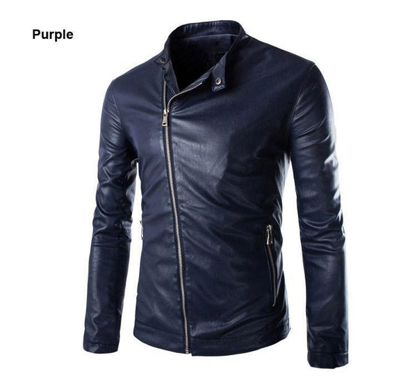 Men's European Fashion Style Jacket - Oblique Washed Men Leather Jacket Coat Design (Up to 3 Colors)-Men's Jackets-WickyDeez