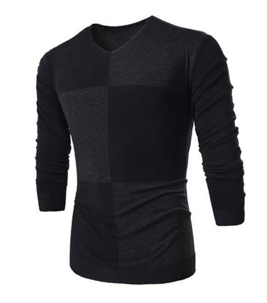 Men's European Style Geometric Pattern Round Collar Sweater - 3 Colors-Men's Tops-WickyDeez