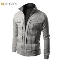 Men's Fashion Brand Zipper Hoodies Button Solid Decorated Jacket M-XXL - 5 Colors-Men's Jackets-WickyDeez