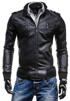 Men's Fashion Leisure Zipper Multi-pocket Turn-down Collar PU Leather - In Colors Black & Light Brown-Men's Jackets-WickyDeez