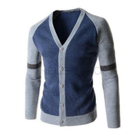 Men's Fashion Patchwork Long Sleeve V-Neck Cardigan Sweater - 3 Colors-Men's Tops-WickyDeez