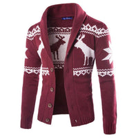 Men's Fashion Slim Single Breasted Casual Sweater Cardigan Knitwear with Deer Print - 4 Colors-Men's Jackets-WickyDeez