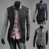 Men's Fashion Suit Blazer Casual Slim Patchwork Top Clothing - 3 Colors-Men's Jackets-WickyDeez