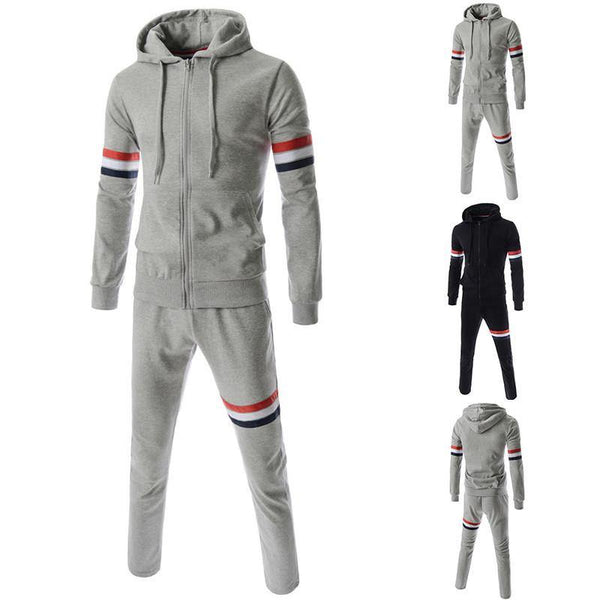 Men's Hoodie+Sweatshirt+Pants Ribbon Design Tracksuits and Sportwear (Full Set)-Men's Tops-WickyDeez