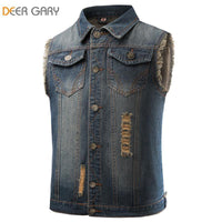 Men's Jeans Vest Vintage Denim Waist Coat Sleeveless Washed Frayed Jacket Tank Top Ripped Style-Men's Jackets-WickyDeez