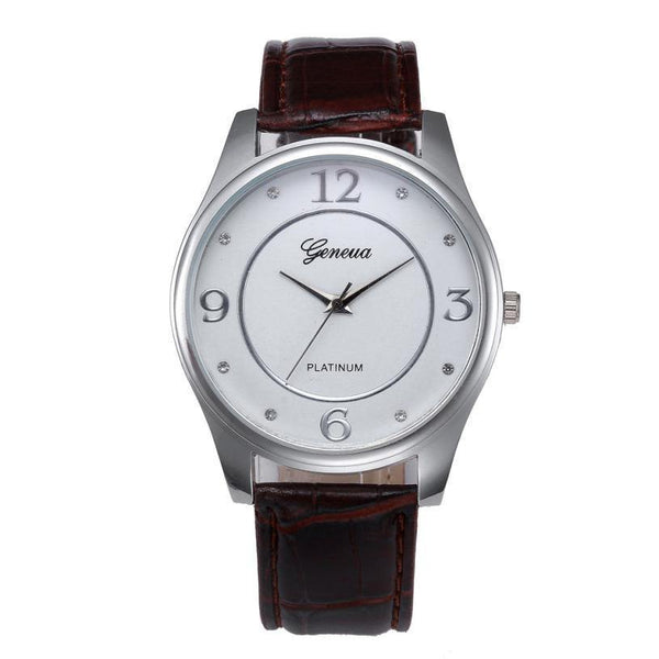 Men's Leather and Stainless Steel Dial Quartz Wrist Watch-Accessories-WickyDeez