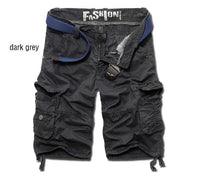 Men's Multi-Pocket Casual Shorts Homme Plus Size Loose Cargos (Belt not Included)-Men's Pants-WickyDeez